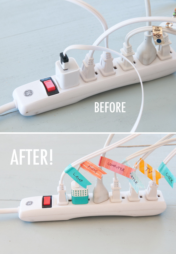 organize by labeling your chords - desk organization hacks