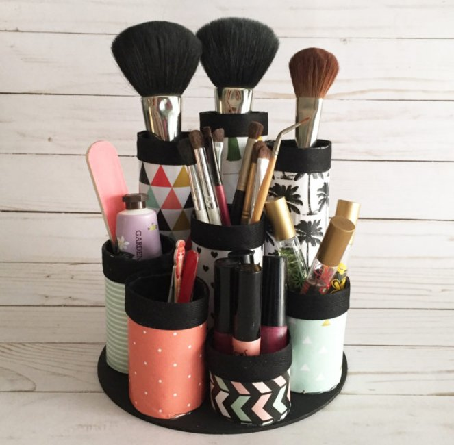 paper towel tube make up organizer - organize with recyclable items