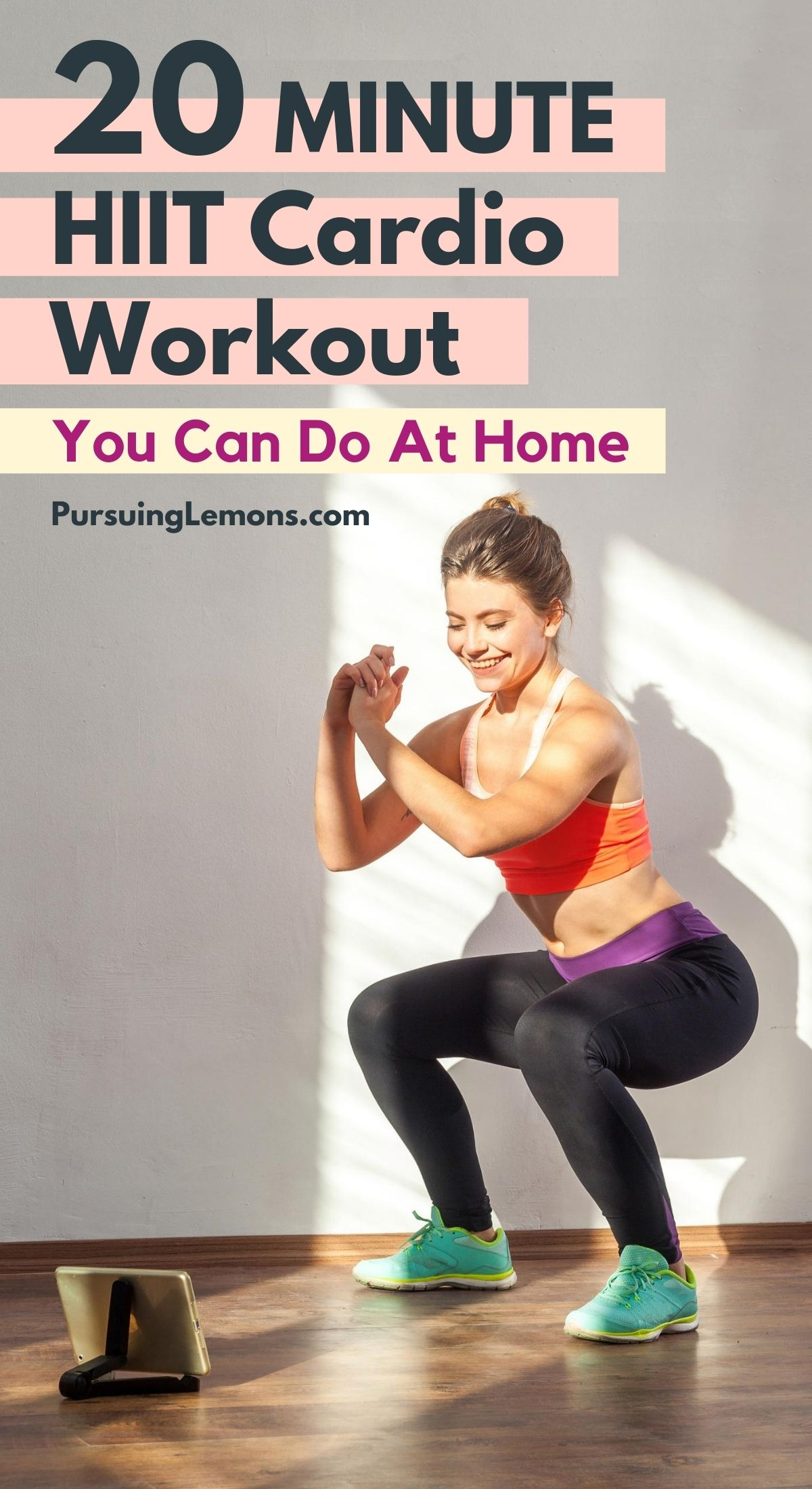 20-Minute HIIT Cardio Workout You Can Do At Home (No Equipment). If you have not tried a high-intensity interval training (HIIT) cardio workout, you're missing it out because HIIT promises the best workout to burn fat and lose weight in the least amount of time. #HIIT #workout #workoutathome #cardio